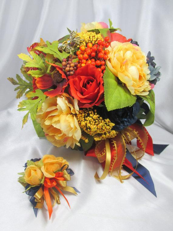 Свадьба - Bridal Brooch Bouquet and Boutonniere Set for Autumn or Fall in Orange, Gold and Blue - Ready to Ship