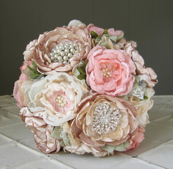 Свадьба - Fabric flower brooch wedding bouquet . Custom colors . Vintage couture look with peony rose flowers