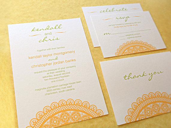 زفاف - Wedding Invitation Suite / Modern Wedding Invitations, Country Lace - Deposit