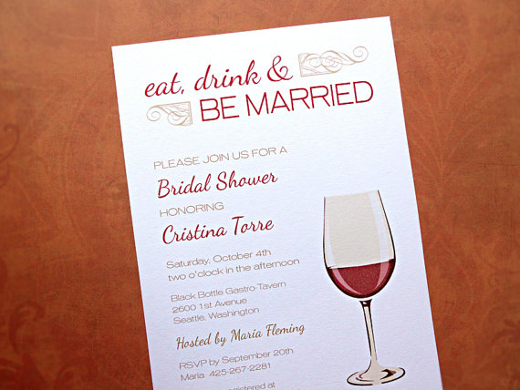 Bridal Shower Invitations Eat Drink Be Married Wedding Wine Theme 10 Count