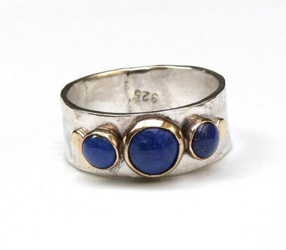 Blue Lapis Lazuli Gemestone Engagement Ring 14k Gold Ring Silver