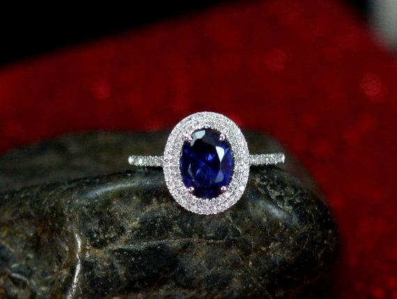 زفاف - Blue Sapphire Halo Diamond Engagement Ring Urania Oval Cut Double Diamond Halo Custom Size White-Yellow-Rose Gold-10k-14k-18k-Platinum