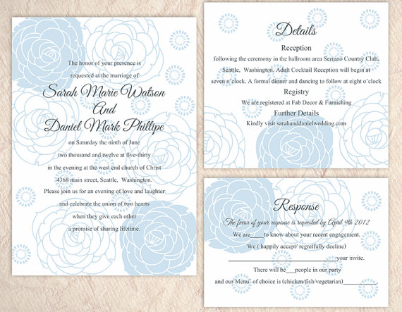 Boda - DIY Wedding Invitation Template Set Editable Word File Instant Download Printable Invitation Rose Wedding Invitation Blue Invitations