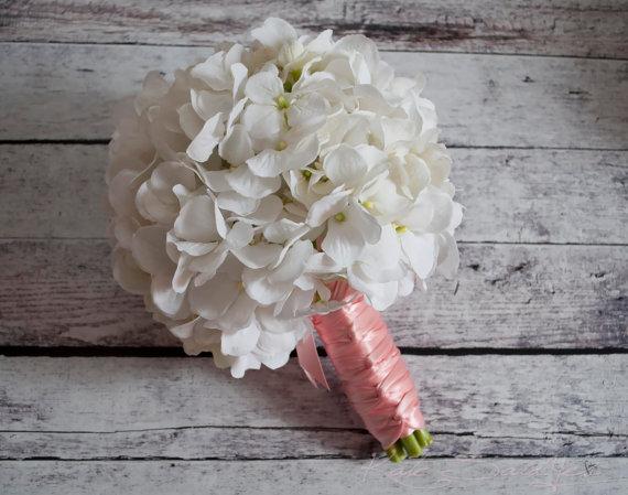White Hydrangea Wedding Bouquet - White And Blush Pink Hydrangea ...