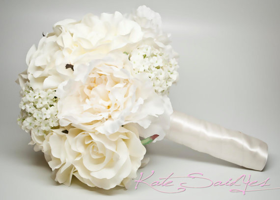 زفاف - Wedding Bouquet Ivory Peony Rose Hydrangea Silk Wedding Bouquet
