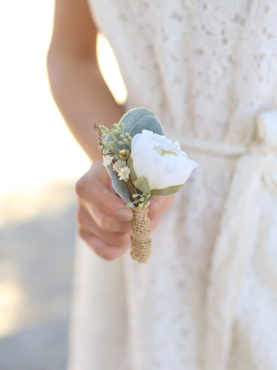 Wedding - Rustic Bout Pin by Morgann Hill Designs Burlap Twigs