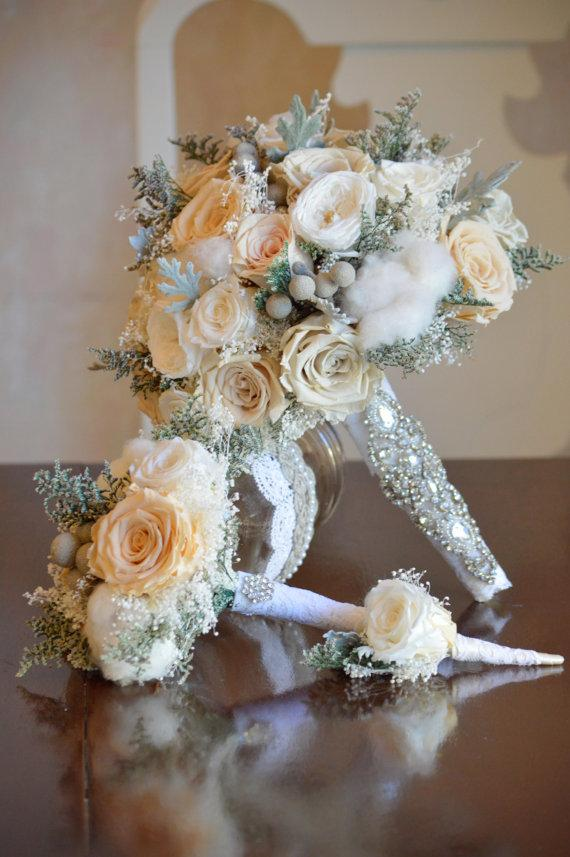 Bridal Bouquet Throwing : Ready to ship winter preserved rose wedding bridal bouquet
