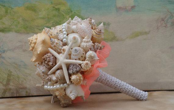 Свадьба - Coral Seashell Bouquet / Beach Bouquet, Beach Wedding, Destination Wedding, Cruise Wedding, By the Sea Wedding Bouquet