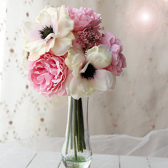 JennysFlower Shop 10\'\' Blooming Peony And Anemone Silk Artificial ...