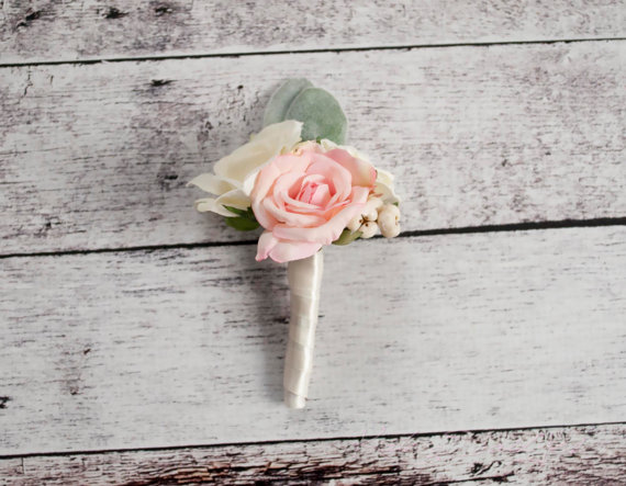 Mariage - Blush Pink and Ivory Rose Wedding Boutonniere with Lamb's Ear