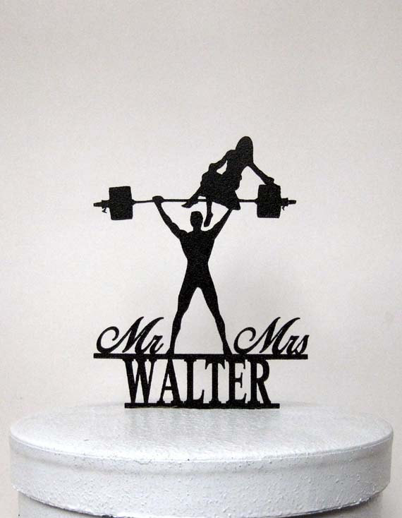 Mariage - Personalized Wedding Cake Topper - Your Man is Strong! Weight lifting Groom silhouette with Mr&Mrs Last name