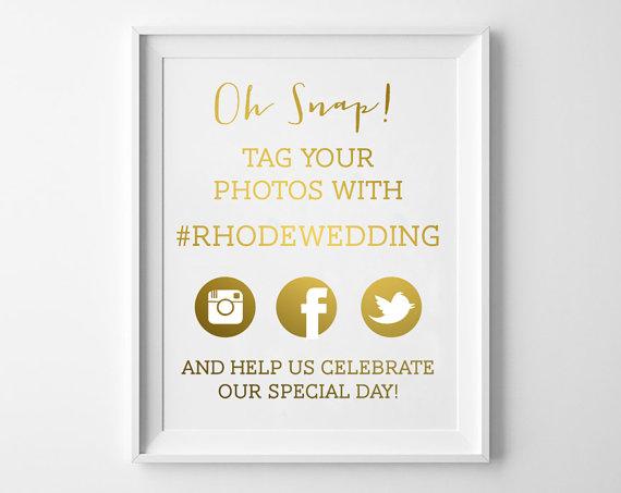 Mariage - Wedding Hashtag Sign / Hashtag Wedding Print  / Wedding Hashtag in REAL FOIL / Custom Wedding Hashtags / Wedding Hashtag Print  / Tag Photo