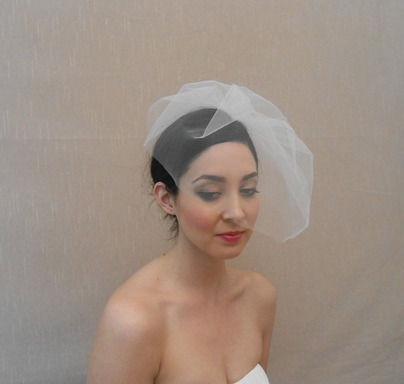Mariage - Wedding tulle birdcage veil in ivory, white, blush, champagne, black - Ready to ship in 3-5 days
