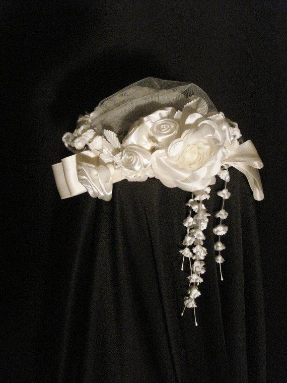 Mariage - Tulle & Rosettes White Wedding Hat Bridal Accessory Flowers OS