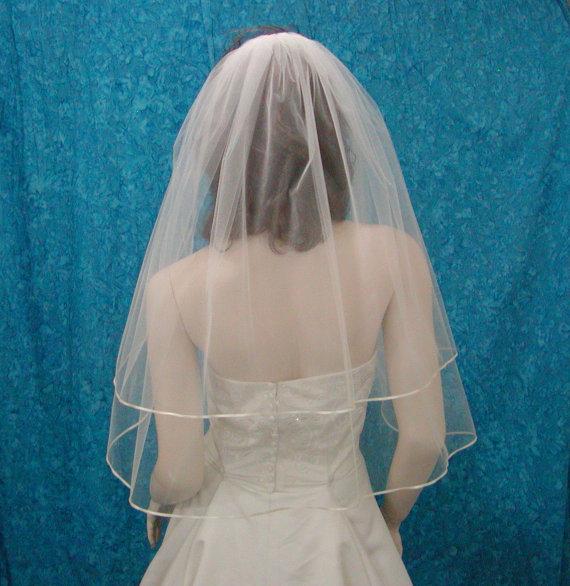 Hochzeit - Wedding Veils  Two Tier Elbow  length   Bridal Veil trimmed with  Satin Rattail or Flat Ribbon trim