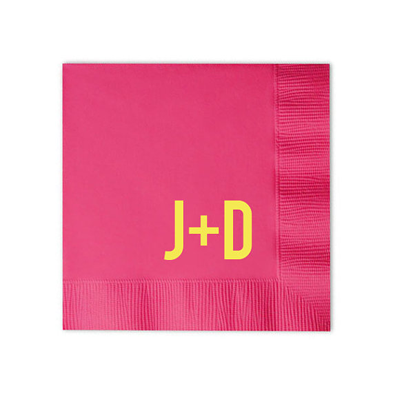 Mariage - Modern Initial Cocktail Napkins- You choose the colors