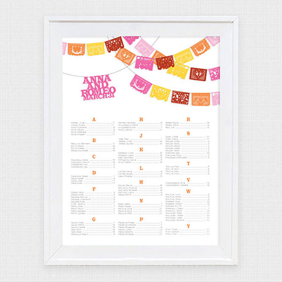 Hochzeit - fiesta wedding seating chart printable seating plan papel picado mexican flags destination mexico seating assignment