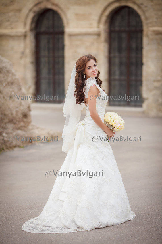 Two Tier Lace Wedding Veil With Beaded Wide In Fingertip Length Layers Bridal Blusher And Gathered Top On A Comb