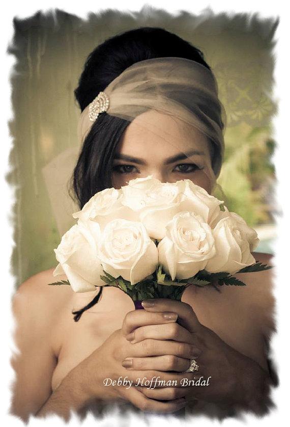 Mariage - Wedding Veil, Rhinestone Bridal Veil, Rhinestone Headband, Bandeau Veil, Birdcage Blusher Bridal Veil, Wedding Turban Headband, No. 411