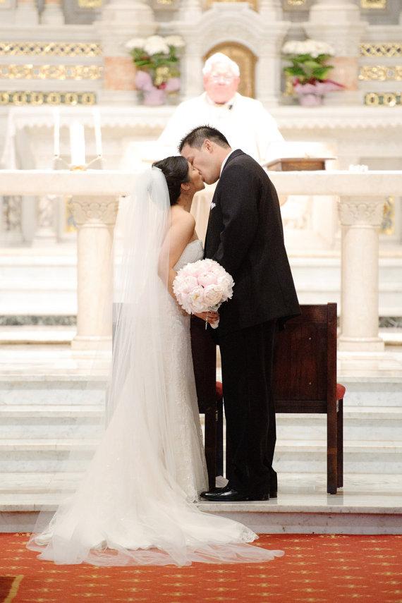 "Mariage - Chapel length two tier Wedding Bridal Veil 90"" w/ blusher white, ivory or diamond"