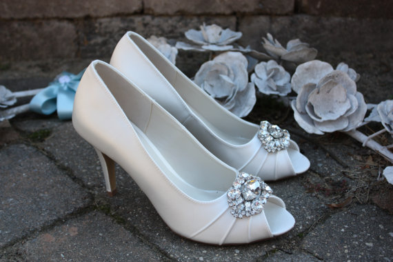 Ivory Wedding Shoes Crystal Toe Embellishment Available In Pastel Colors 3 Inch Heel Pumps Bridal Bling