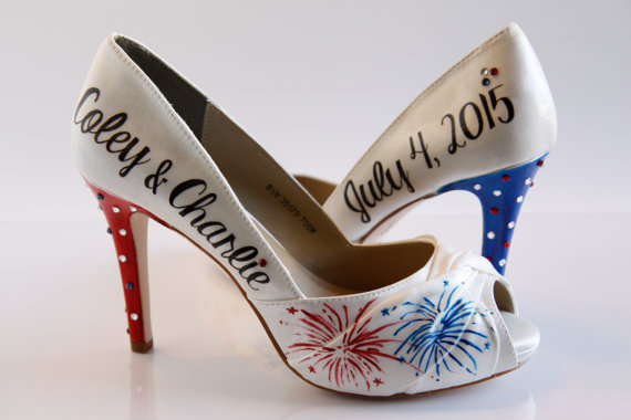 Свадьба - Fireworks Wedding Shoe, Fourth Of July Wedding, Fireworks Hand Painted Wedding Shoes