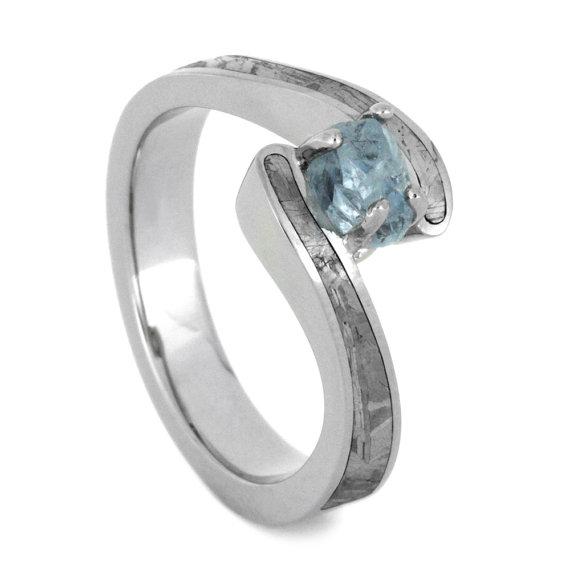 زفاف - Aquamarine Engagement Ring, Palladium Ring With Partial Meteorite Inlays and a Rough Cut Aquamarine Center Stone