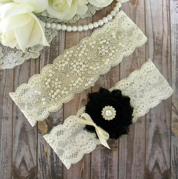 Mariage - Black Pearl Wedding Garter / Choose Your Colors/ Wedding Garter Set / Toss Garter/ Lace Garter/ Style #160