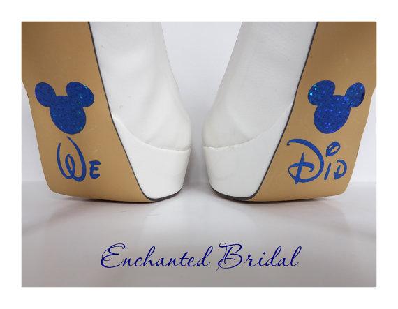 زفاف - Disney Inspired We Did Shoe Stickers You Pick Color Sparkly Vinyl Wedding Shoe Decals