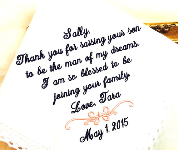 wedding wedding gift for mother of the groom handkerchief hanky