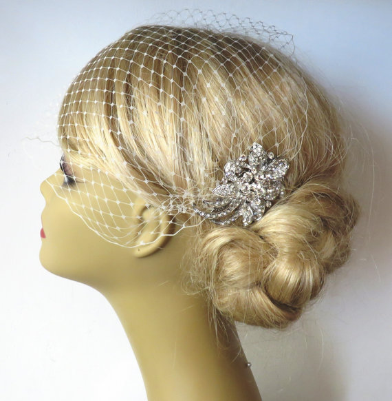 Hochzeit - Birdcage Veil and a Hair Comb -(2 Items) - Bridal Headpiece,Rhinestone Bridal Comb, Weddings,Blusher Bird Cage Veil