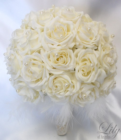 "Wedding - Round Bridal Bouquet Groom Boutonniere IVORY ""Lily Of Angeles"""