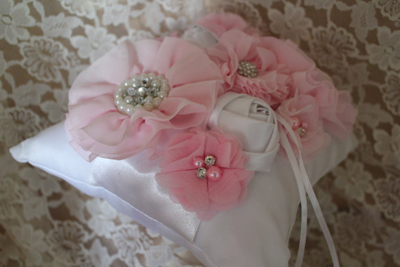Hochzeit - Cream/White Ring Bearer Pillow- Pink Chiffon Flowers Accented with Rhinestones and Pearls