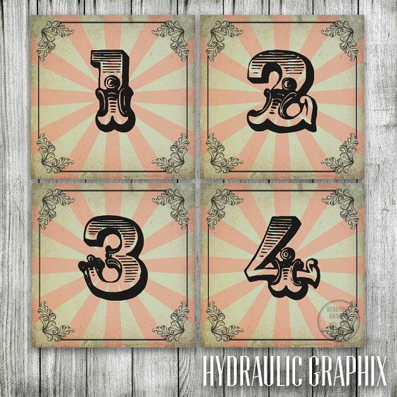 Mariage - Wedding Table Numbers for VINTAGE CIRCUS Theme