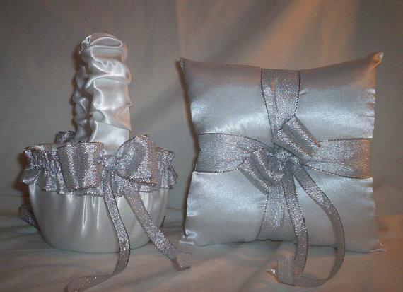 Hochzeit - White Satin With Silver Metallic Ribbon Trim Flower Girl Basket And Ring Bearer Pillow Set 1