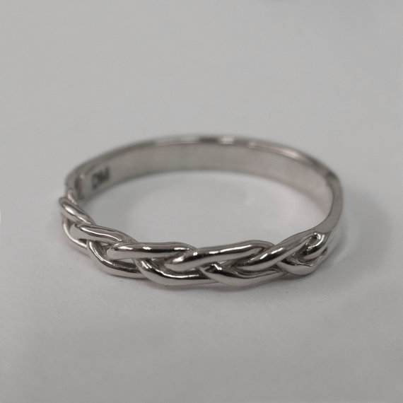 Braided Ring No 4 14k White Gold Stackable Ring Wedding Band