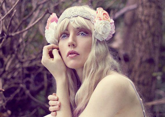 Wedding - Ophelia Flower Headpiece, Beaded Rhinestone Rose Crown, Bridal Beaded Headdress