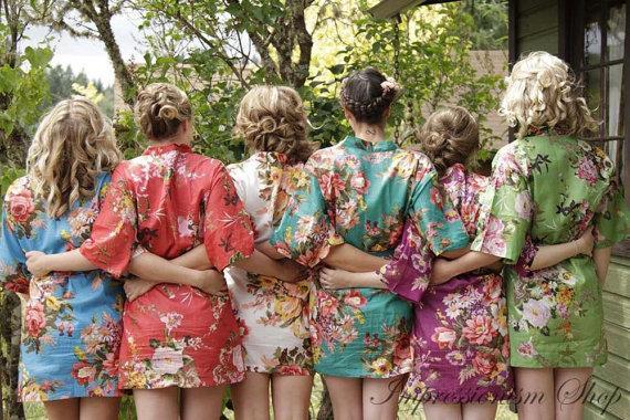 Mix And Match Bridesmaids Robes. Set Of 8 Kimono Crossover ...