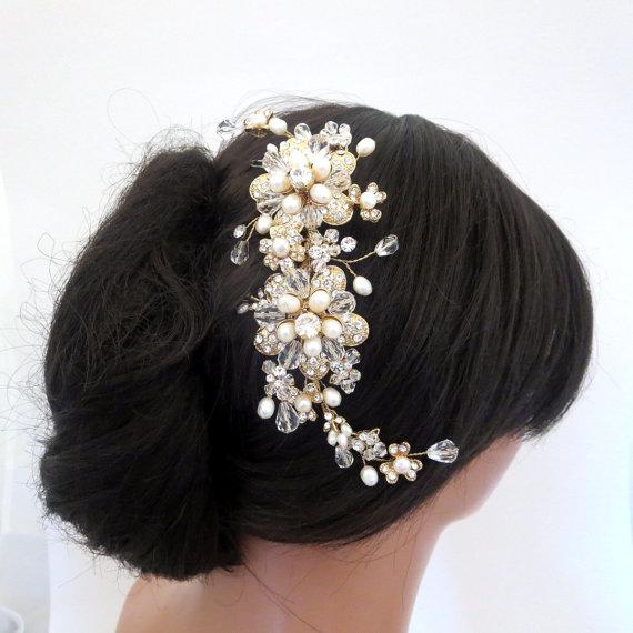 Boda - Bridal headpiece, Gold wedding headpiece, Gold hair comb, Bridal hair vine, Rhinestone and pearl headpiece