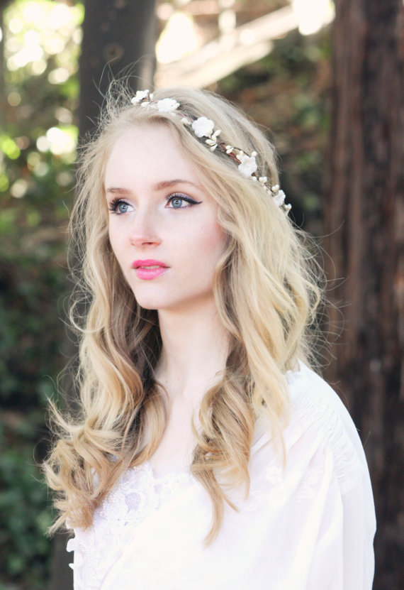 Bridal Flower Crown Ivory Head Piece Wedding Wreath Headpiece Rustic Woodland Hair Band Forget Me Not