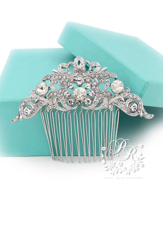 زفاف - Wedding Hair Comb Rhinestone Hair comb Bridal Hair Comb Hair Accessory Wedding Jewelry Wedding Accessory Bridal Comb Bridal Jewelry Ribbon