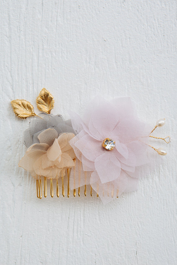 Mariage - Chiffon and Swarovski crystals floral hair comb, bridal hair comb, flower comb, girls hairpiece, bridal headpiece, bridal hair comb