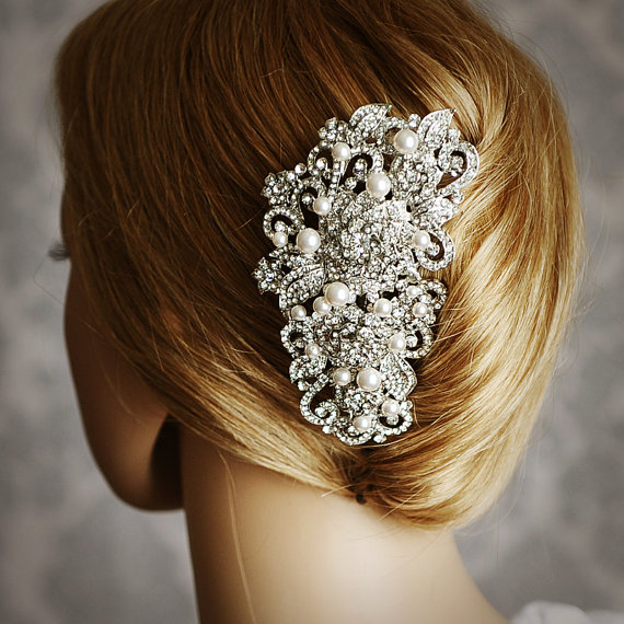 Angelique Victorian Pearl And Rhinestone Bridal Hair Comb Vintage Style Wedding Accessories Crystal Flower