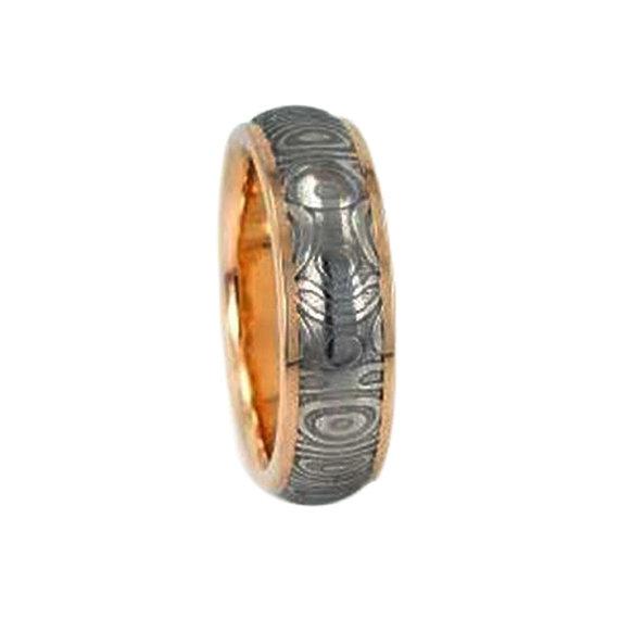 Wedding - Eternity Band, 14K Gold Ring, Damascus Wedding Band