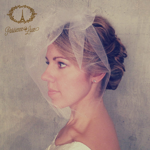 Mariage - MARIE LARGE - tulle bridal birdcage, birdcage full face veil, bird cage, tulle blusher veil, tulle birdcage veil, short tulle veil, wedding