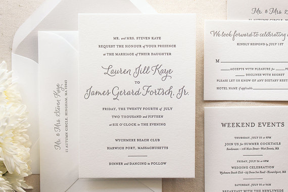 Hochzeit - The Lily Suite - Chic Letterpress Wedding Invitation Suite, Black, Gray, Grey, Liner, Calligraphy, Script, Simple, Classic, Modern, Elegant