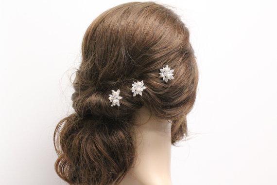 Mariage - Set of 3 Wedding hair pins Bridesmaid Gift  Wedding hair accessory Bridal hair pins Wedding hair jewelry Bridesmaid hair accessory Wedding
