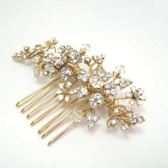 Wedding - Gold Wedding hair comb, Bridal hair comb, Wedding headpiece, Bridal hair clip, Gold flower comb, Bridal headpiece, Vintage hair comb