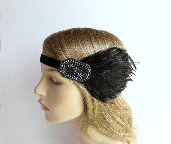 Mariage - Flapper 1920s Headband, Great Gatsby Headpiece, Gunmetal Gray Pewter, Charcoal Beaded Black Feather Headband by Adorning Beauty