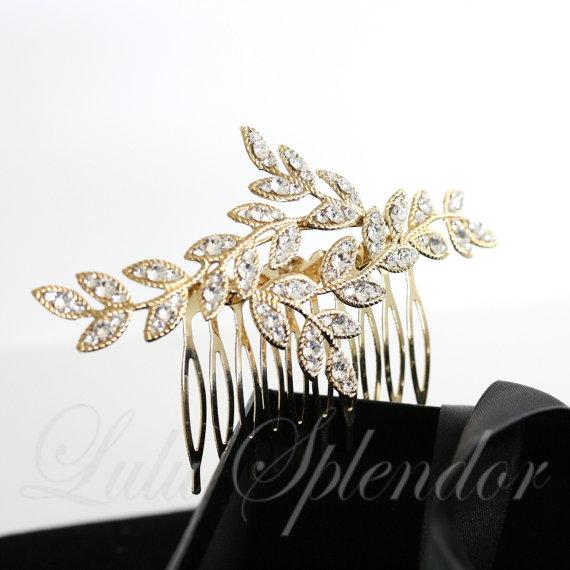 زفاف - Gold Bridal Hair Comb Leaf with Crystal Leaves Vintage Comb Hair Piece Wedding Hair Accessory NEVE CLASSIC